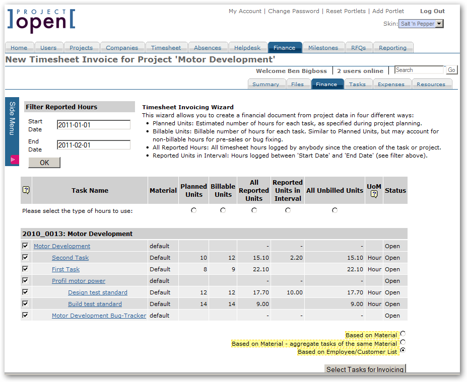 invoice wizard second step