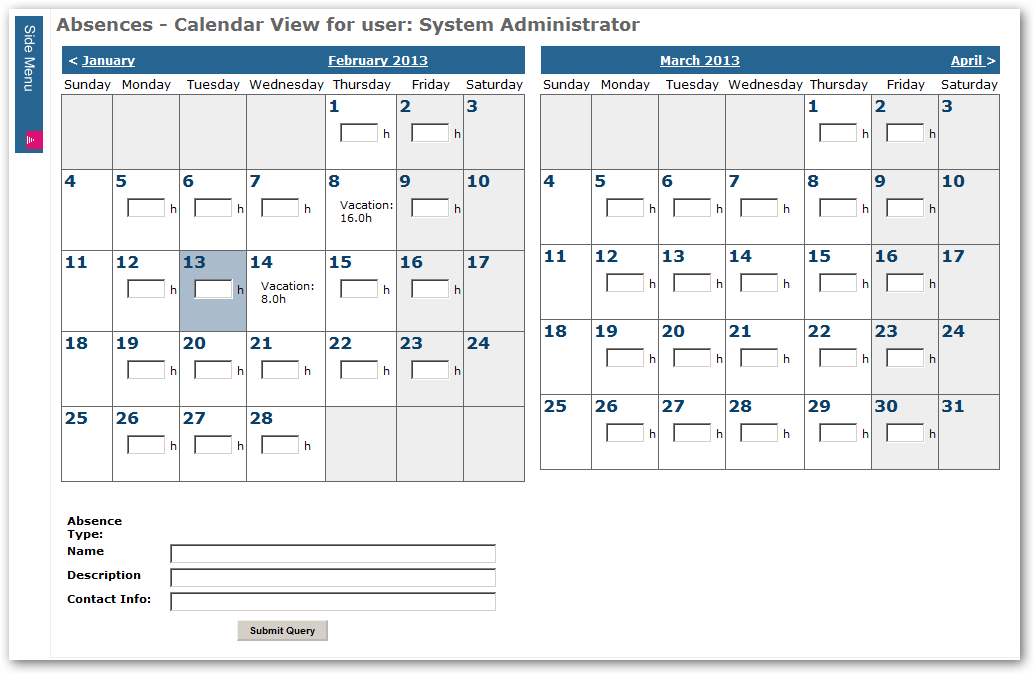 Absence Management: Allow convenient entry of daily absences