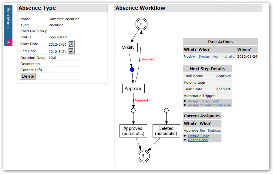 Absence Workflow Panel